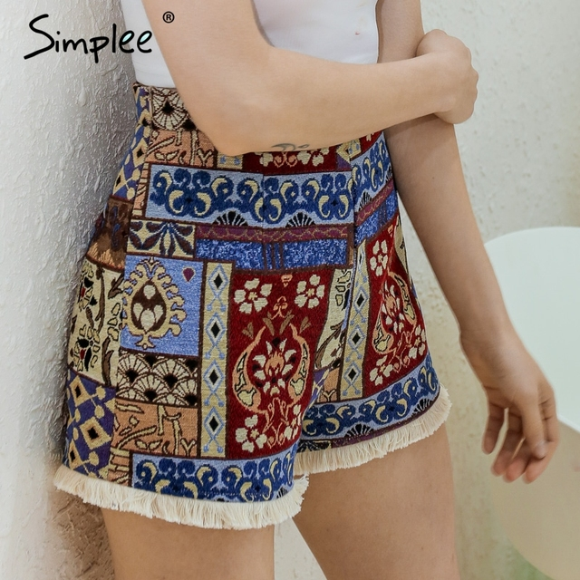 Simplee Vintage zipper short high waist shorts women Boho fringe chic shorts bottom Flower sexy mini shorts 2017 summer beach