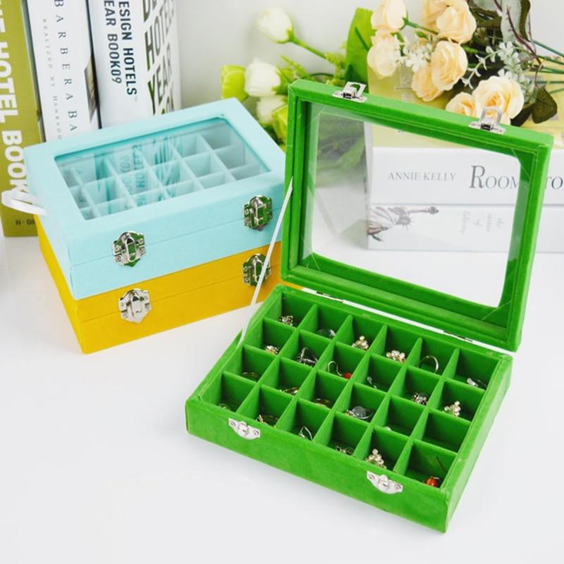 Mordoa New Jewelry Organizer 24 Grid Jewelry Tray Jewelry Display Holder Bracelet Ring Earring Box Case Jewelry Storage Organize