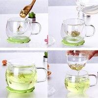 350ML Transparent Klar Glas Milch Becher Kaffee Tee Tasse Teekanne Wasserkocher Mit Tee Infuser Filter & Deckel Hause Büro drink