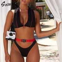 Бразильский комплект бикини с пряжкой, на молнии, спортивный купальник, стринги, купальный костюм, женский купальник, черный, с высоким выре...