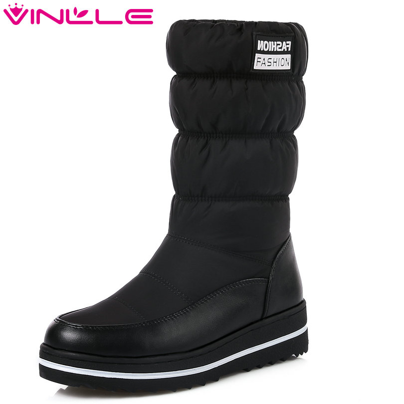 VINLLE 2018 Women Boots Shoes Mid Calf Boots Wedge Med Heel Down+PU leather Snow Boots Autumn Ladies Motorcycle Shoes Size 34-43 vinlle 2017 women pumps college style square med heel vintage slip on pu leather shoes casual round toe girl shoes size 34 40