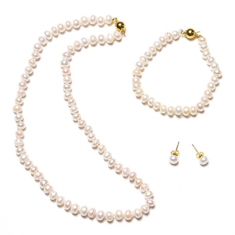 Plat opalescent perles peut être personnalisé dans 7*8mm D'eau Douce Naturelle colliers de perles bracelets de perles et boucles d'oreilles perles