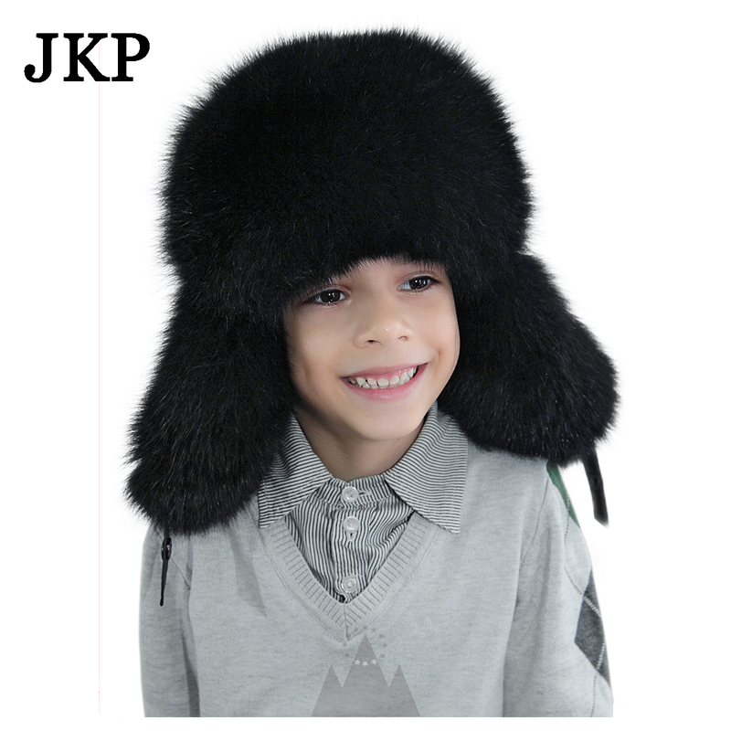 kids Children's hats real fox fur Trapper Hat with pom poms winter ear flaps bomber hats for boys Russian Ushanka caps wool 2 pieces set kids winter hat scarves for girls boys pom poms beanies kids fur cap knitted hats