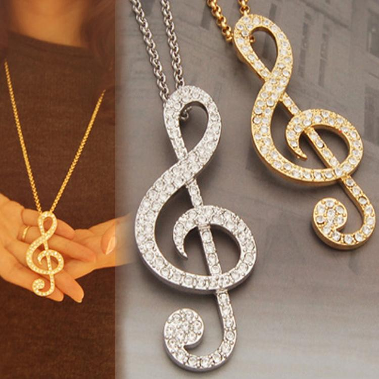 1pc Hot Sale Male Diamante Music Note Pendant Necklace Sweater Chain Necklaces