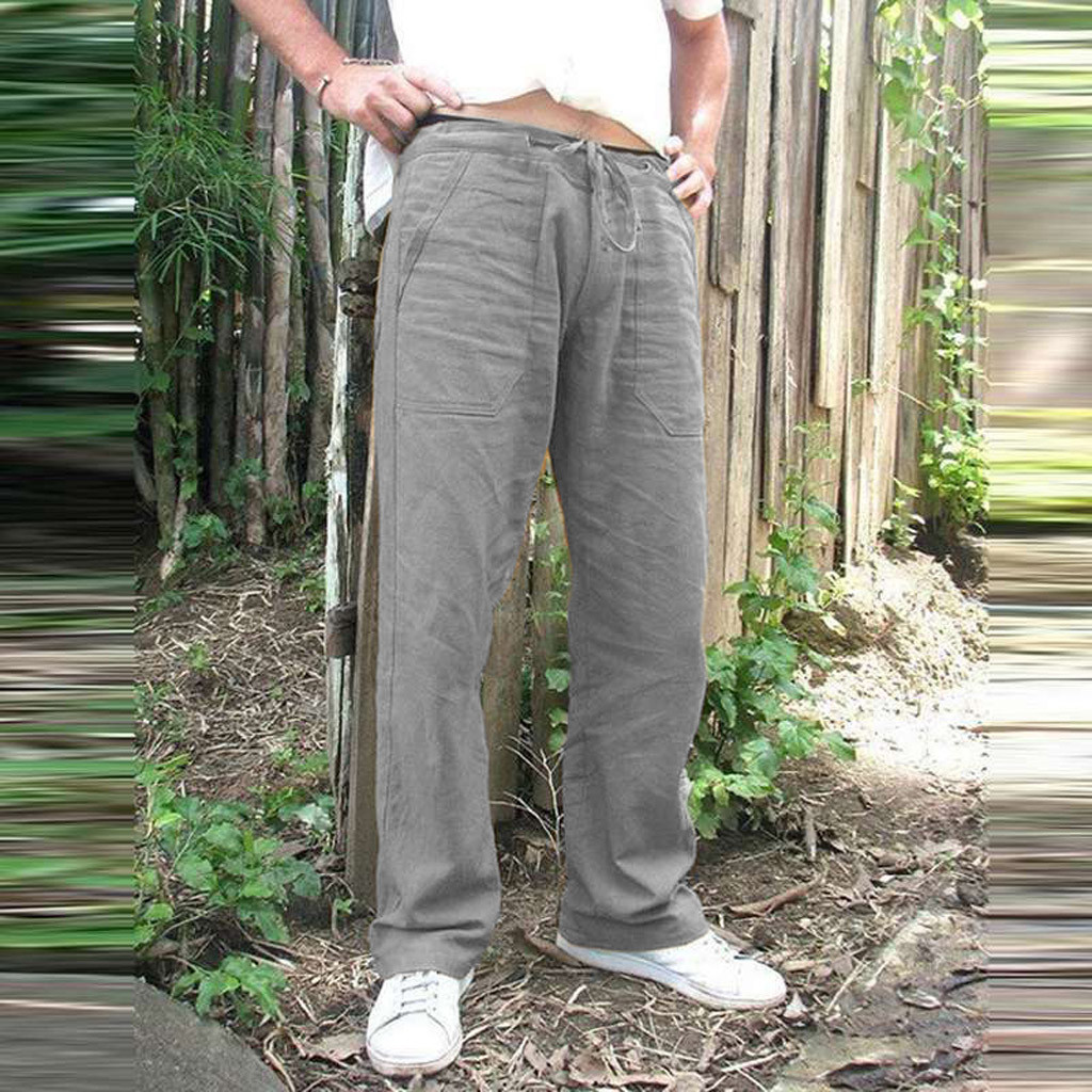 Litthing Mens Nature Cotton Linen Trousers Summer Pants 5XL Casual Male Solid Elastic Waist Straight Loose Pants Plus Size L0709