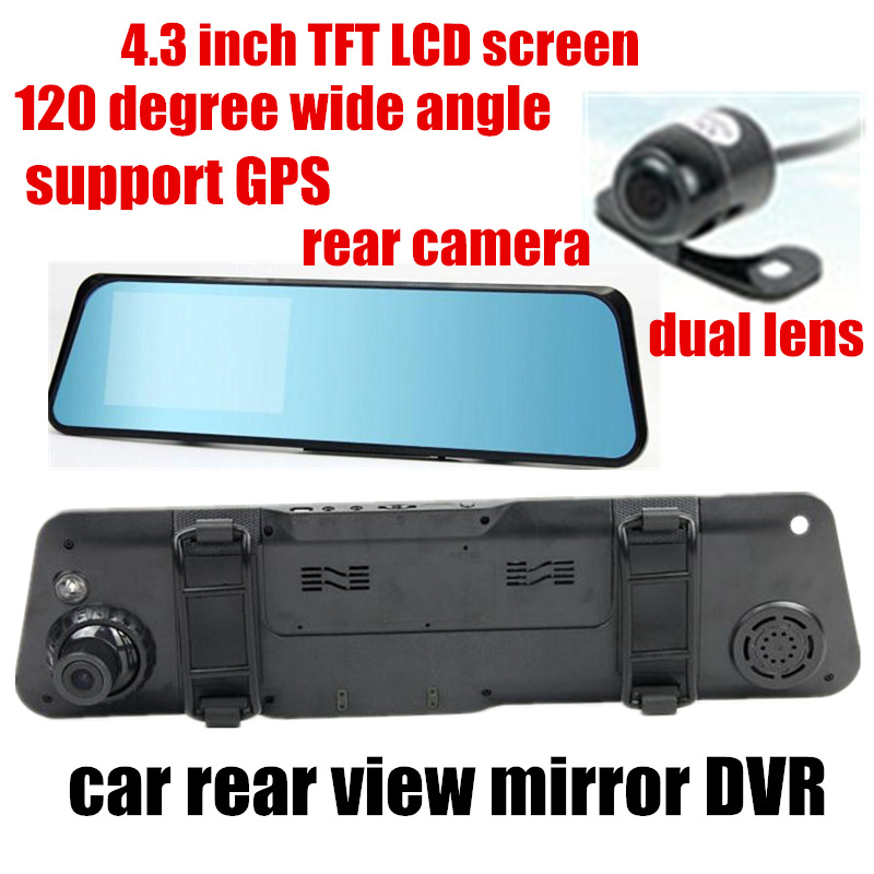 New hot Car rearview mirror DVR video recorder 4.3 inch TFT screen front 120 degree and back 170 degree wide angle dual lens