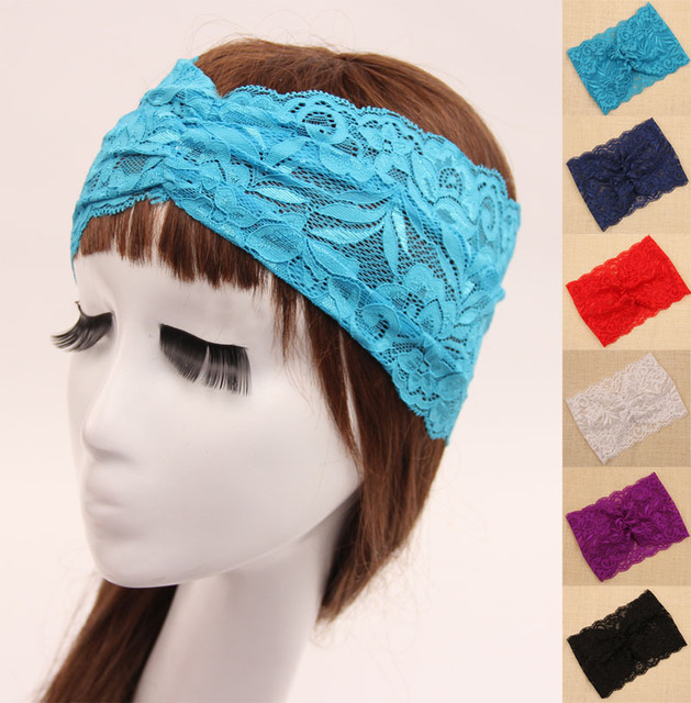 Adult Stretch Mesh Floral Lace Headband Women Wide Headbands approx ... 9e2197eb075