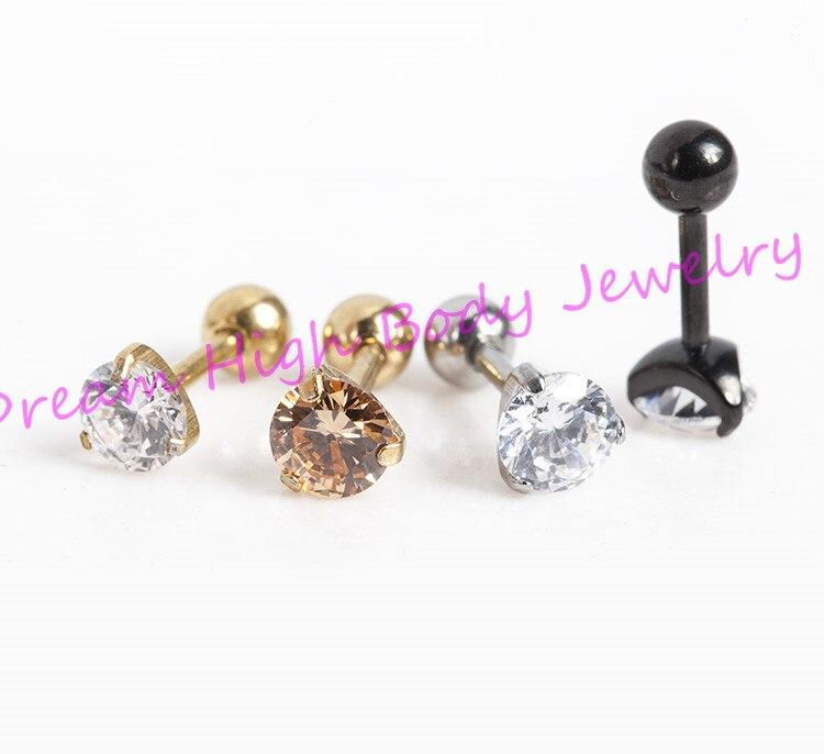Zircon Earring Crystal Barbell Earring Stainless Steel 3 to 8mm Ball Zirconia Ear Stud Popular Korea