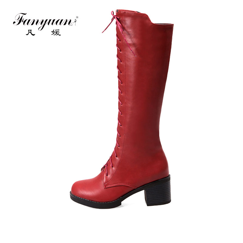 Fanyuan size 34-43 new women boots fahion black red lace up Zipper lady boots high quality pu square heels knee high boots high quality full grain leather and pu mixed colors boots size 40 41 42 43 44 zipper design lace up decoration round toe boots