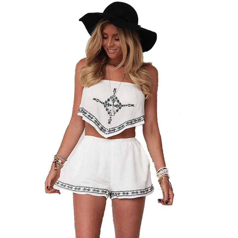 2018 Strapless Sexy Club Crop Top Shorts 2 Pieces Casual Womens Jumpsuits Summer Romper