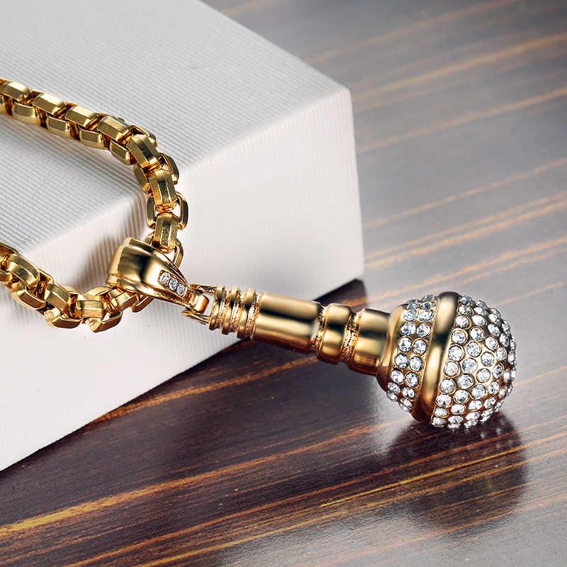Хип хоп Iced Out Bling подвеска в виде микрофона цепочки и ожерелья для женщин/для мужчин Нержавеющая сталь цепи хип-хоп исполнитель Музыка Ювелирные изделия дропшиппинг