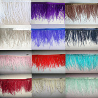New! Wholesale high quality 10 yards of white ostrich feather ribbon, feather length 8 10cm / DIY clothing accessories