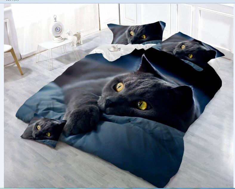 4 pièces 3D Animal impression lit ensemble pour enfants chat noir chiens tigre et Lion motif housse de couette ensembles de luxe reine taille literie-in Ensembles de literie from Maison & Animalerie    1