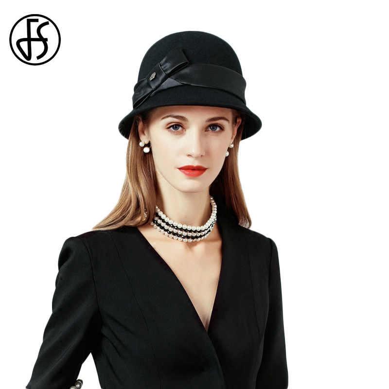 727891b685bbce FS Black Bow Womens Wool Felt Fedora Classical Autumn Winter Wide Brim  Bowler Hat Cloche Church