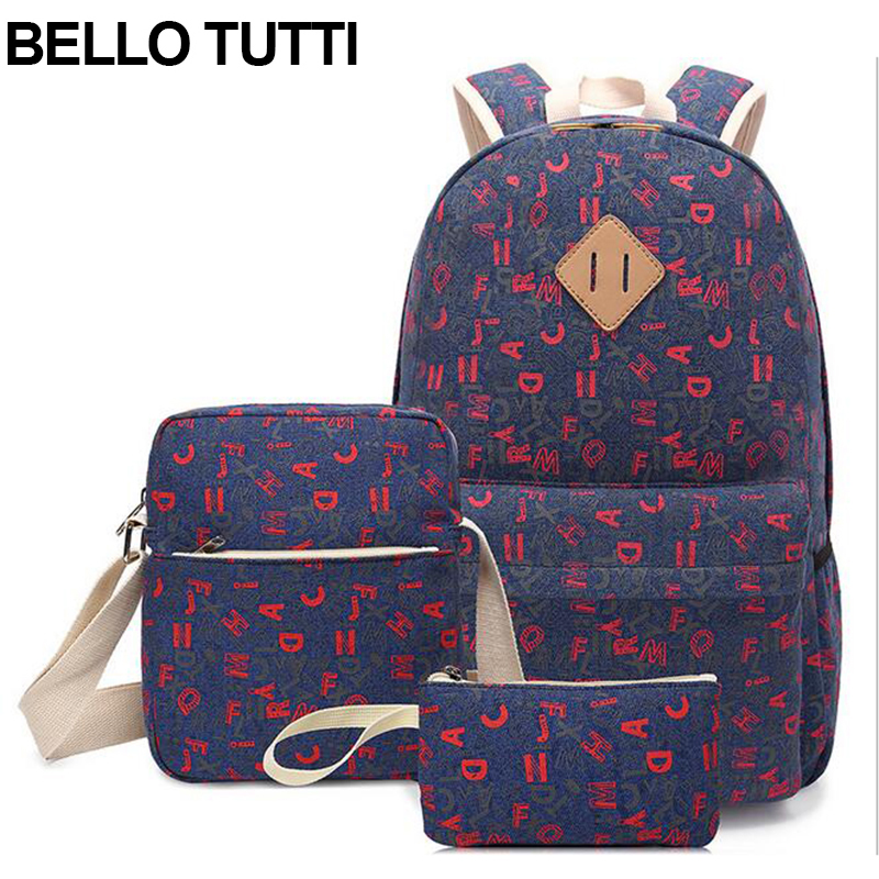 BELLO TUTTI Canvas Women Backpack For School Teenagers Girls Preppy Stylish Ladies Bag Backpacks Female Letters Printing Mochila canvas printing backpack women school bags for teenagers girls backpacks ladies bolsas mochila feminina black color