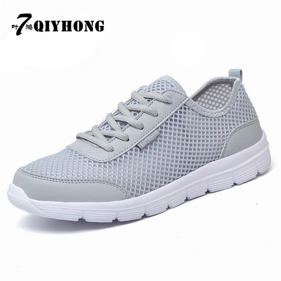 Men Shoes 2017 Summer Fashion Breathable Men Casual Shoes  Tie Up High Quality   Flat Mesh Shoes Plus Size 35-48 Shoes Men