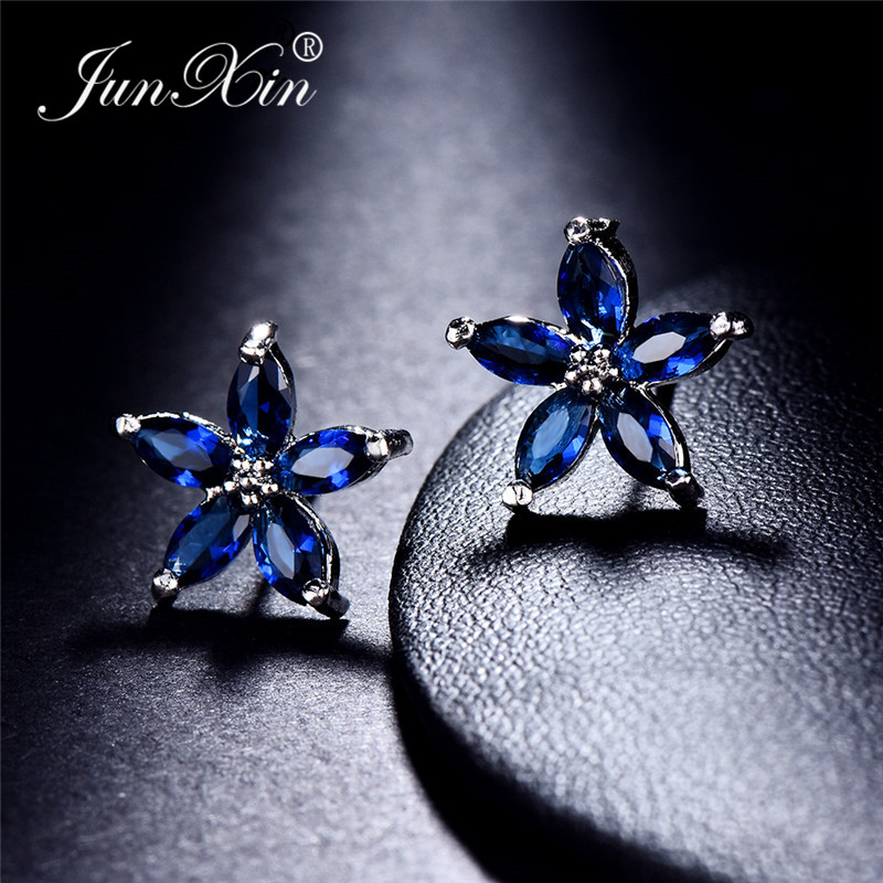 JUNXIN Multicolor Zircon Small Star Stud Earrings For Women White Gold Filled Royal Blue Purple Pink Earrings Wedding Jewelry