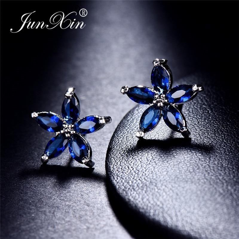 JUNXIN Multicolor Zircon Small Star Stud Earrings For Women White Gold Filled Royal Blue Purple Pink Earrings Wedding Jewelry