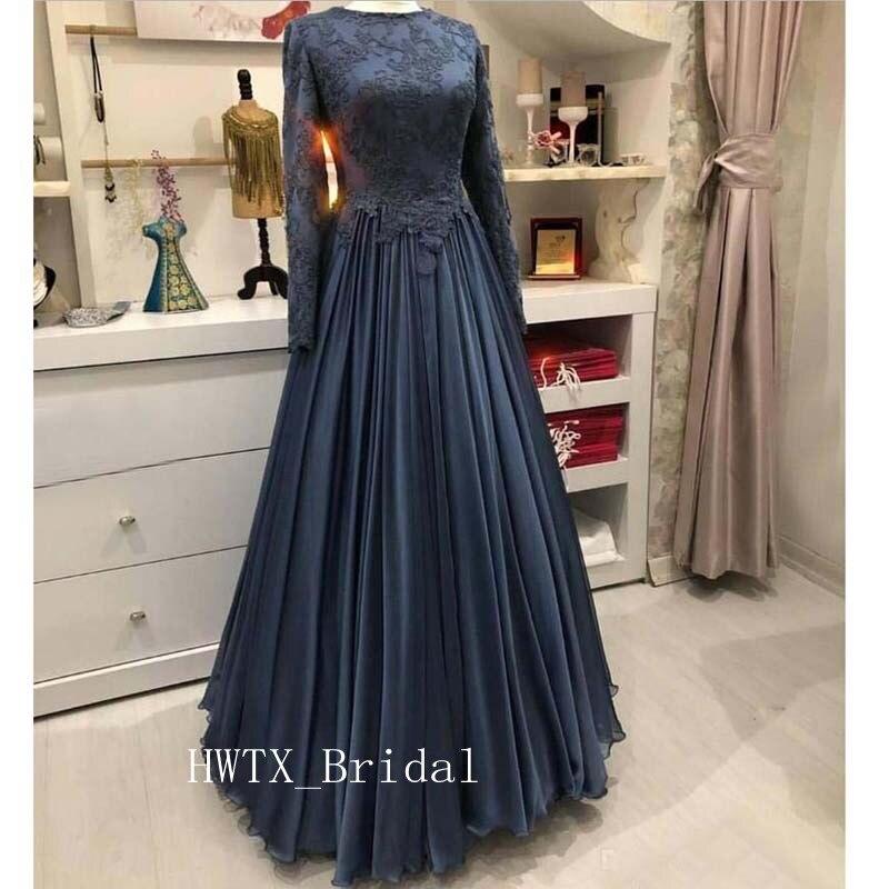 Robe de soirée musulmane à manches longues 2019 caftan Vintage dentelle mousseline de soie grande taille une ligne arabe formelle robes de bal pas cher Robe de soirée