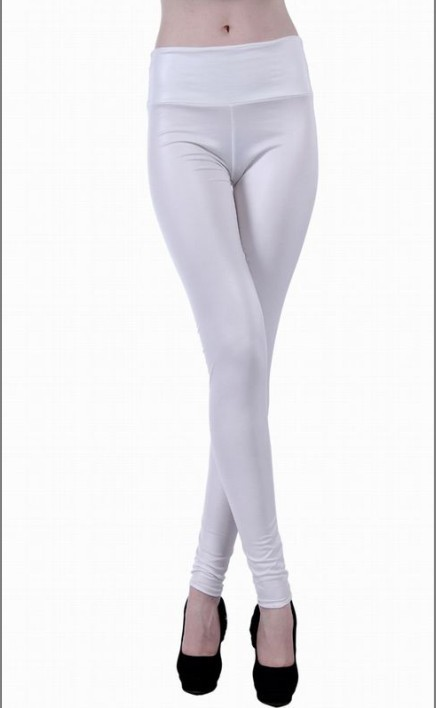 White Metallic Leggings