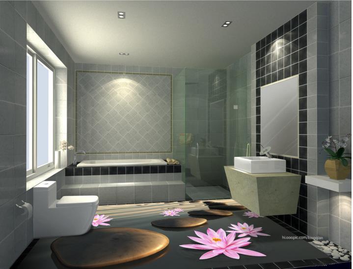 US $25.74 61% OFF 3d Stereoskopische Tapete Vinyl Bodenbelag Sonne kiesel  3d Stein Wasserdichte Tapete Für Badezimmer 3d Bodenfliesen-in Tapeten aus  ...