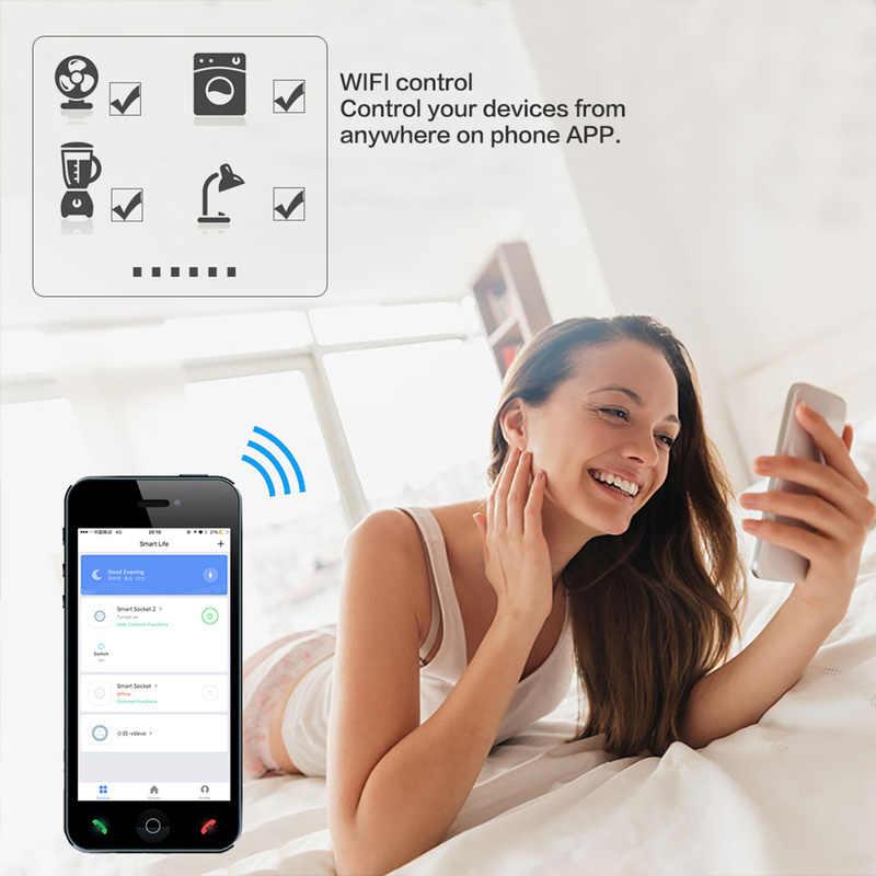 Inteligentna wtyczka inteligentne gniazdo wifi monitor zasilania ue z pilotem wtyczka automatyki domowej praca z Google Home Alexa IFTTT