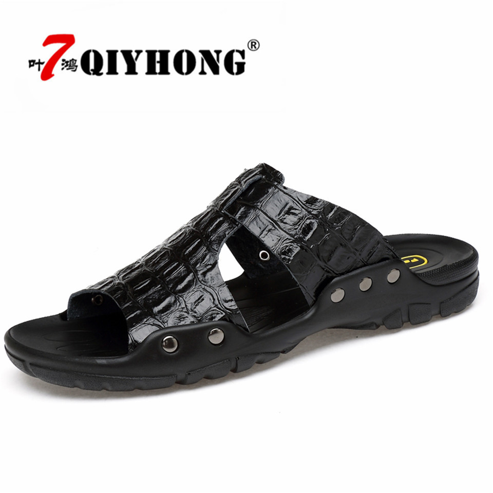 Genuine Leather Slippers Men Summer Sandals Breathable QIYHONG Brand Designer Stylish Shoes Real Leather Seaside Beach Flats