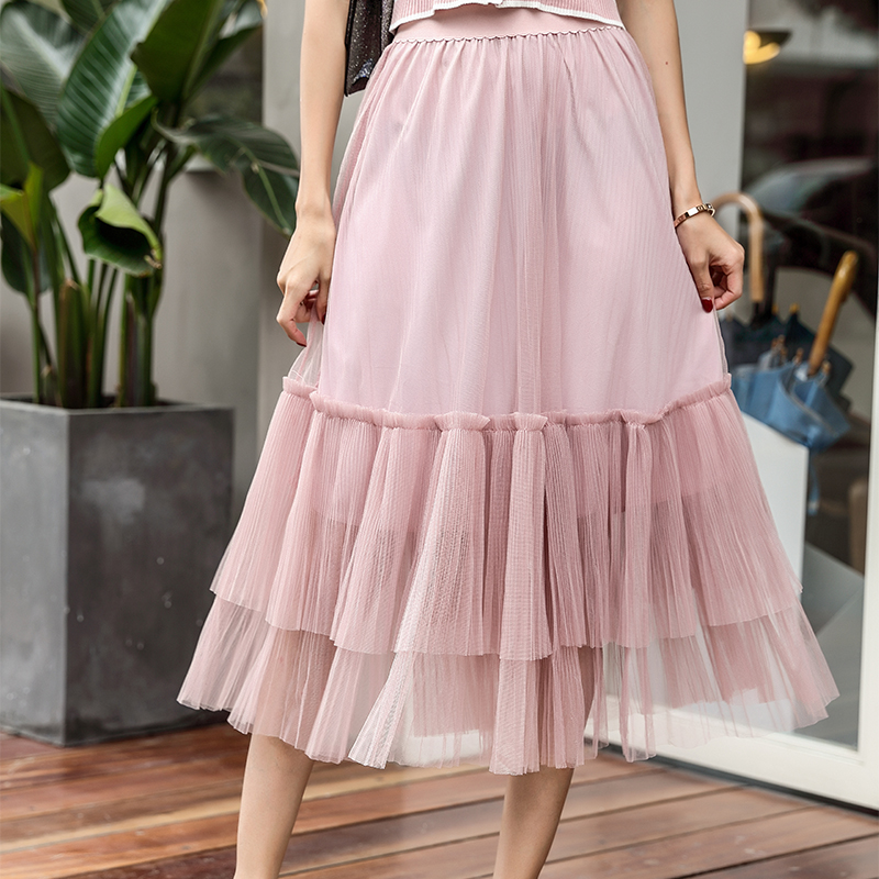 Tight Long Skirts Pleated High-Waisted Women's Fashion Mesh Tide Gauze Halves Pure-Color