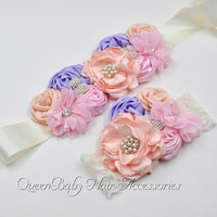 Vintage Inspired Flower Sash Matching Lace Headband Maternity Belt Photo Prop