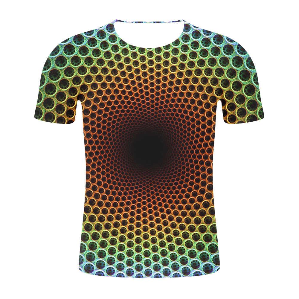 2019 男性の 3D Tシャツ新ブラックと白めまい催眠印刷メンズ Tシャツユニセックスファニー半袖 Tシャツ男性/女性トップス