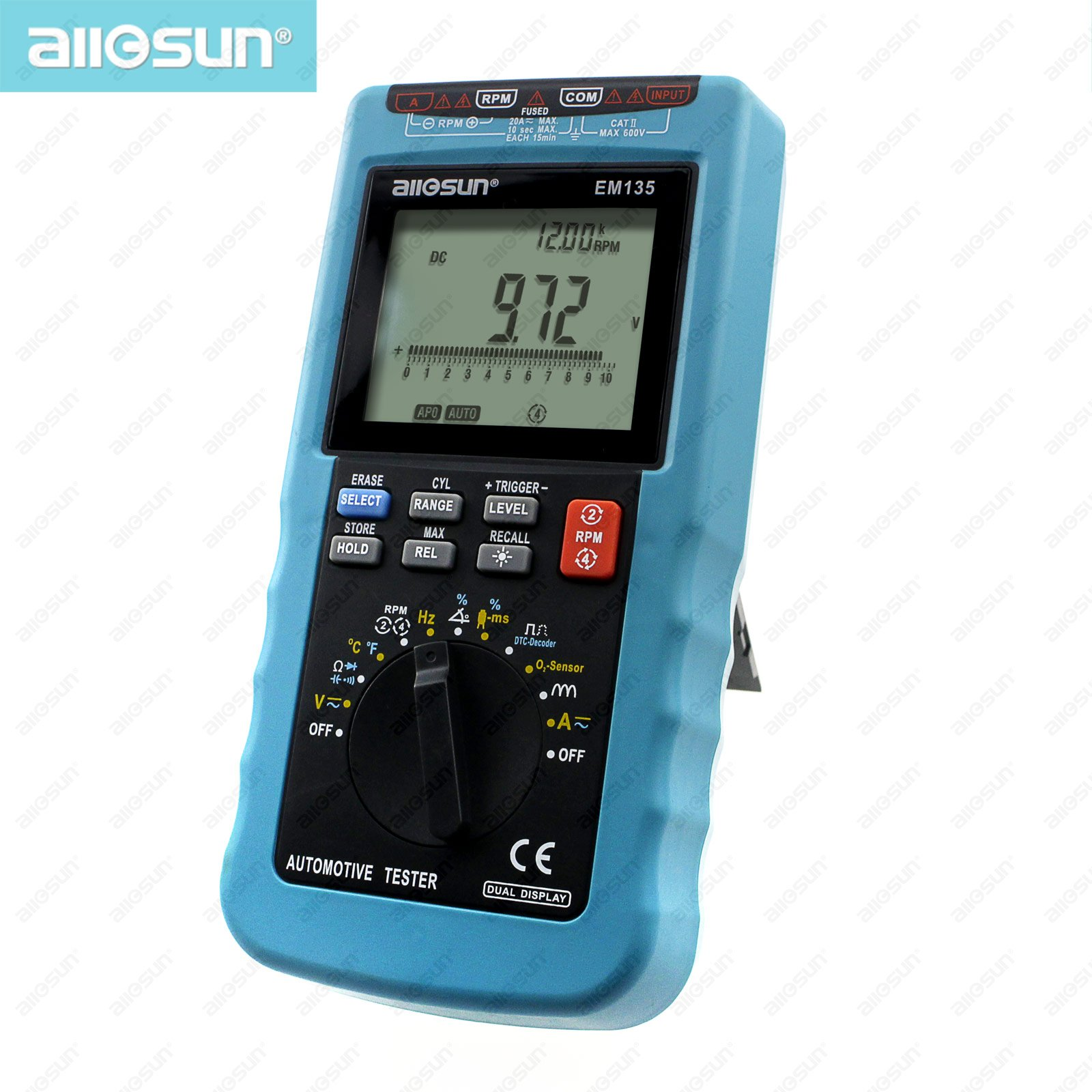 all-sun EM135 Modern Digital Automotive Multimeter 20A ACA/DCA Max Autorange Automotive Tester Multimeter Function