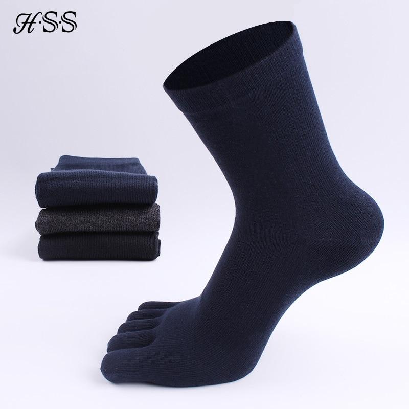 HSS Brand High Quality Business Men's Toe Socks Spring Winter Cotton Socks Black Five Finger Toe Socks For Male US Size (6.5-11)