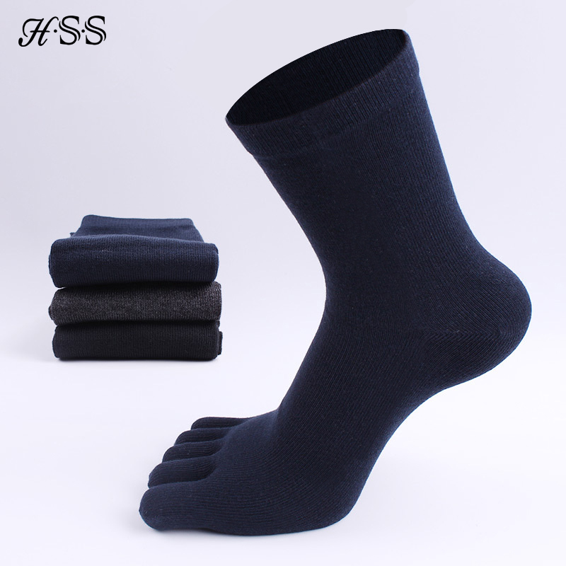 HSS Brand High Quality Business Men's Toe   Socks   Spring Winter Cotton   Socks   Black Five Finger Toe   Socks   for Male US Size (6.5-11)