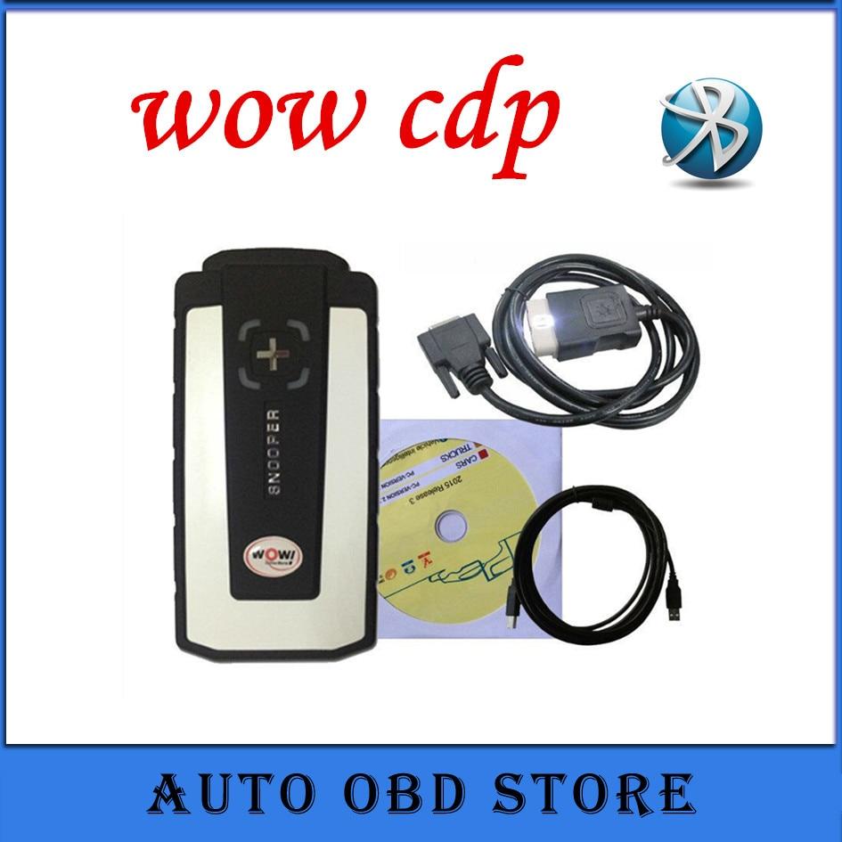 Prix pour 2 pcs/lot 2017 outil de diagnostic WOW CDP SNOOPER 2015R1 Logiciel avec bluetooth bleu pcb OBD OBD2 Scanner
