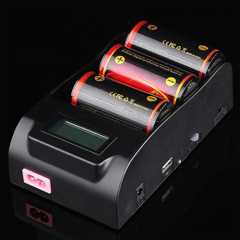 TrustFire TR-008 3 Slots Li-ion Battery Charger with LCD Display Screen+3pcs TrustFire 32650 3.7V 6000mAh Protected Battery цены