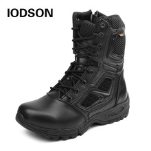 IODSON Military Tactics Mens Ankle Combat Boots Outdoor Special Forces Combat Shoes Leather Waterproof Safety Work Boots Size 3