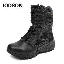 Iodson Tattiche Militari Della Caviglia Degli Uomini Stivali da Combattimento Allaperto Forze Speciali di Combattimento Scarpe in Pelle Impermeabile Stivali da Lavoro di Sicurezza Formato 3