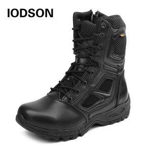 Image 1 - Yodson botas militares tácticas de combate para hombre, zapatos de combate de fuerzas especiales para exteriores, botas de trabajo de seguridad impermeables de cuero, talla 3