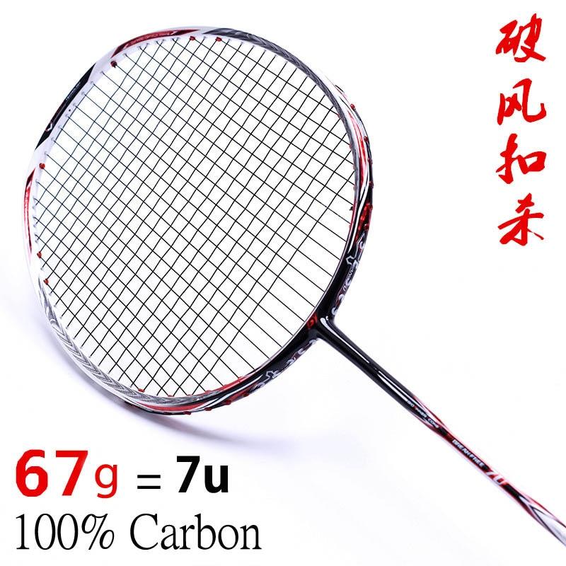 Raquete de Badminton 100% Raquete de Badminton de Carbono 4U 5U 6U 7U