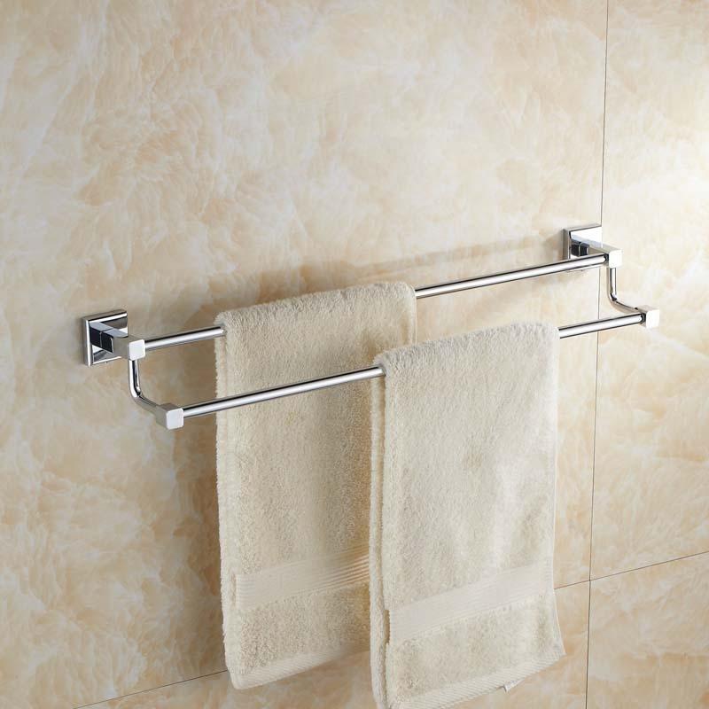 Dishcloth Hanger: Silver Brass Square Base Bathroom Double Bar Towel Rack