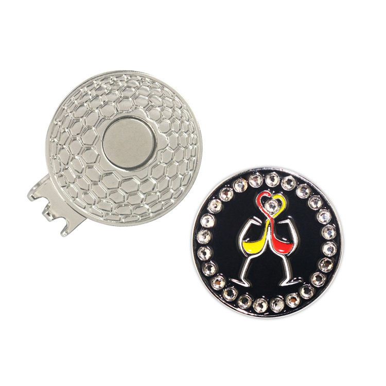 5 X CrystalGolf Único Marcador de la Bola con el Clip de Sombrero de Golf Puttin