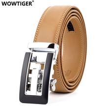 WOWTIGER Automatic Buckle cow genuine Leather luxury Men Belt Light Brown 3 5cm Male Jeans Strap