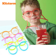 Hot! Funny  Soft Plastic Straw Glasses Unique Flexible Drinking Tube Kids Party Bar Accessories