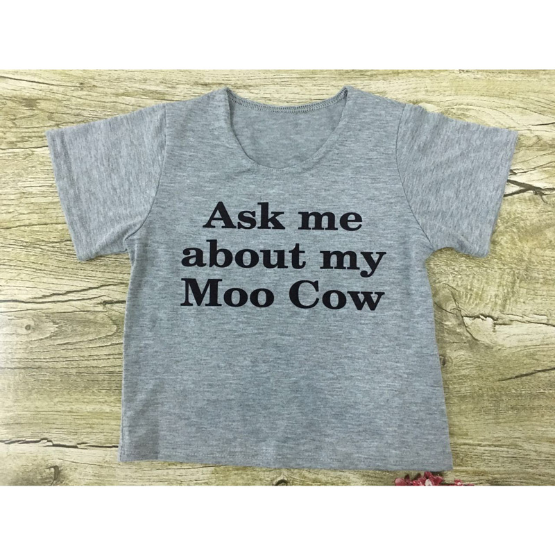 ASK ME ABOUT MY MOO COW T SHIRT FUNNY FANCY DRESS TOP KIDS