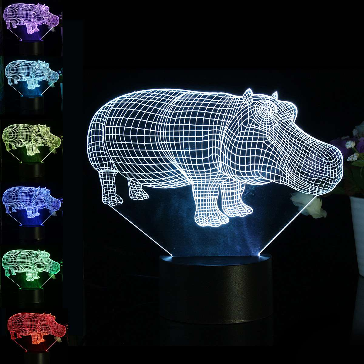 3D Hippo Night Light 7 Color Change LED Table Lamp Christmas Toy Gift