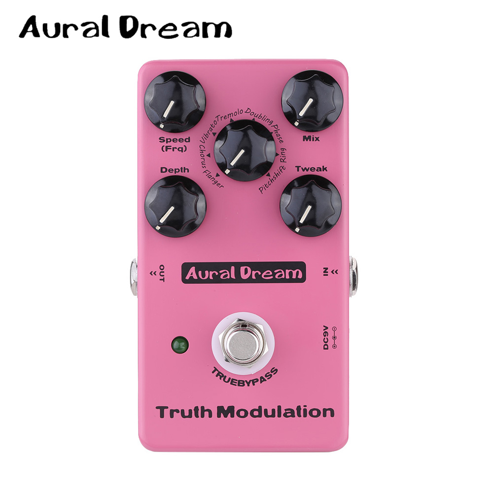 Aural Dream Truth Modulation Guitar Effect Digital Pedal with True Bypass Design Flanger, Chorus, Vibrato, Tremolo, Doubling ect aroma adr 3 dumbler amp simulator guitar effect pedal mini single pedals with true bypass aluminium alloy guitar accessories
