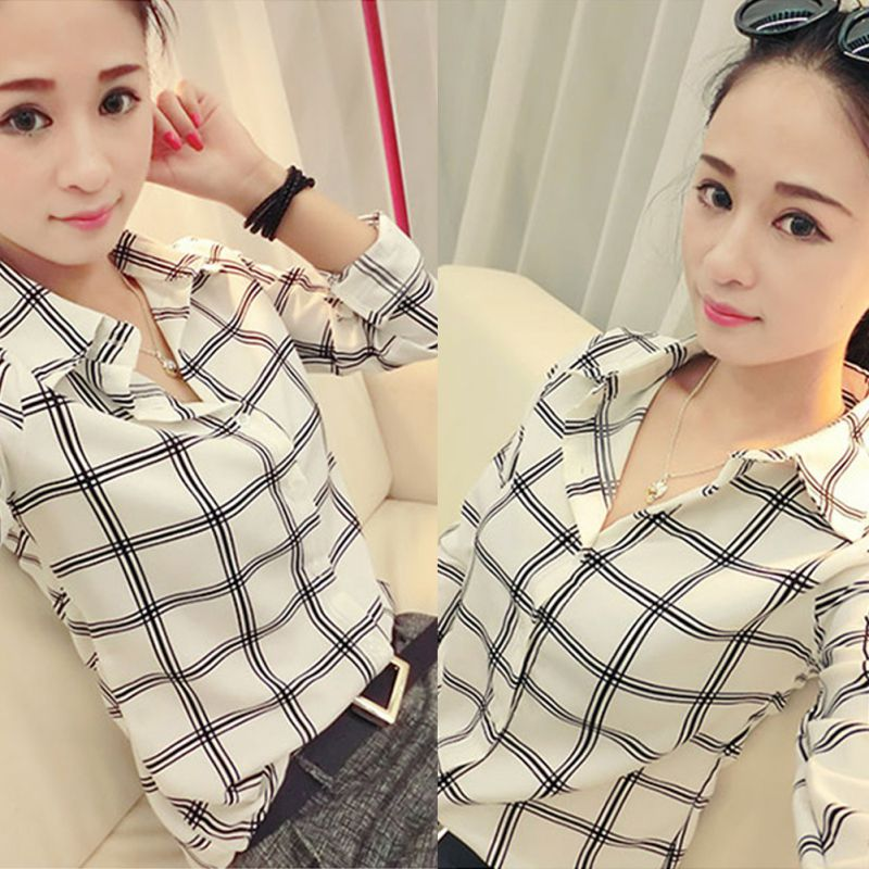 Womens Long Sleeve White Shirts Plaids Pattern Lapel Casual Blouse Tops Blouses & Shirts