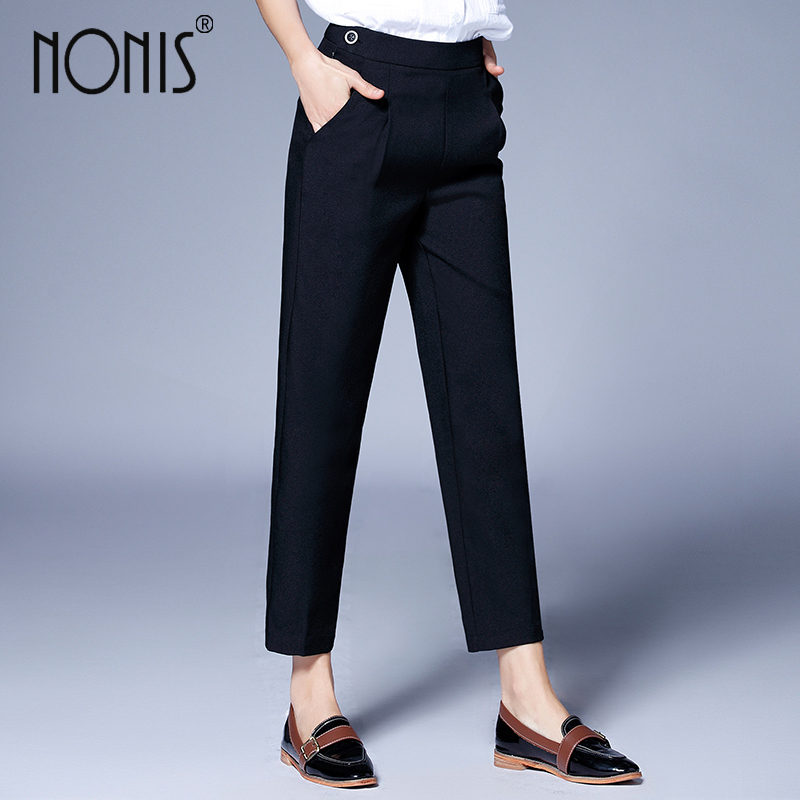 Nonis summer loose Straight   pants   women work wear business trousers plus Size 4XL pantalon femme striped Office Lady   capris