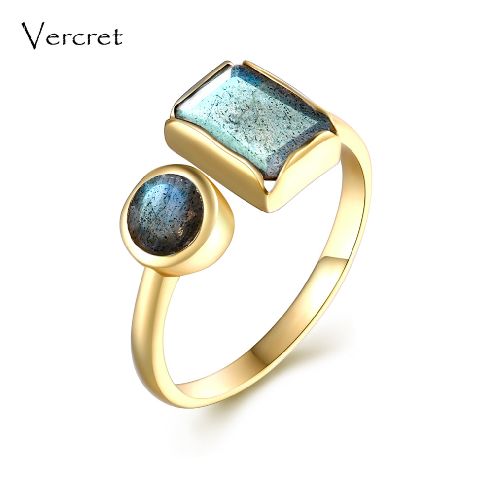 Vercret adjustable labradorite handmade 925 silver ring semi precious fine jewelry for women gifts