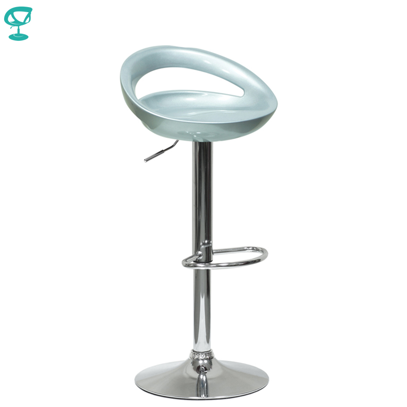 94341 Barneo N-6 Plastic High Kitchen Breakfast Bar Stool Swivel Bar Chair Silver Free Shipping In Russia